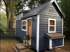 Green Luxury Tiny House- I love the blue gray paint color
