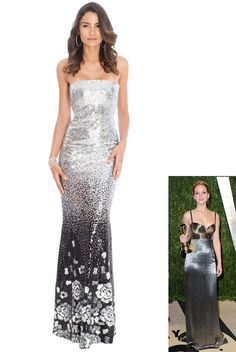 Gradieted Sequin Maxi Dress - Silver - Front - DR370