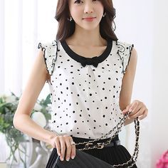 Camisa para mujer del lunar Dots blusa de la gasa 2015 Summer Tops camisas femeninas Tops para mujer de la manga que rebordea ocasional de la gasa femenino blusas