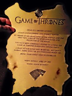 Game of thrones invitations 2015, season 5