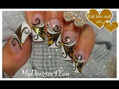 Gold Nail Art Tutorial | Design for Long Diva Nails ♥ Золотой Дизайн Ногтей - http://47beauty.com/nails/index.php/nail-art-designs-products/  Black and white gold nails how to. Золотой Дизайн Ногтей. Абстрактный френч. https://www.youtube.com/watch?v=l2sAYZ951D0 FLORAL NAIL ART DESIGN FOR LONG NAILS – GOLDEN DIVA NAILS WITH BLACK AND WHITE  ELEMENTS. YOU WILL NEED GOLD POLISH, BLACK AND WHITE PAINT AND GOLDEN RHINE