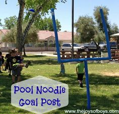 Goal Post made from PVC and pool noodles from TheJoysofBoys.com.