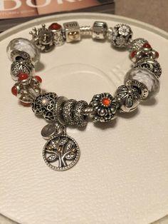 Orange And White Pandora Bracelet