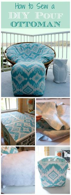 This project is way easier then it looks! Sew your own DIY Pouf for a fraction of the cost with this great tutorial at thehappyhousie.com