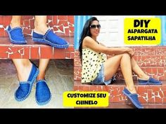 Parmak arası teplastik terlik ve kot.Sapatilha - alpargata com chinelo - como fazer Crochet Shoes, Crochet Slippers, Diy Denim Wallet, Denim Slides, Convertible Clothing, Youtube How To Make, Crochet Mittens Free Pattern, Baby Sewing Projects, Creation Couture