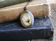 Pressed Wildflower Necklace Botanical Jewelry Resin by KateeMarie, $29.00