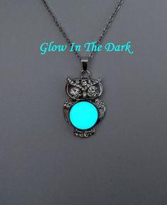 Owl Necklace - Glow in the Dark Bird Jewelry - Bird Necklace - Owl Pendant - Birthday Gift - Interchangeable Snap Necklace by BespokeInnaDesign on Etsy