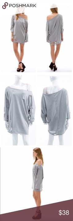 Destroyed T-Shirt Dress This item is perfect for casual days! Just throw on some leggings, this shirt/dress & some cute sneakers and you're good to go! 87% polyester, 10% rayon, 3% spandex! Dresses