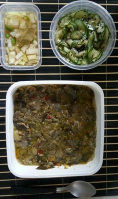 Seguindo as receitas de escabeche de beringela e sunomono