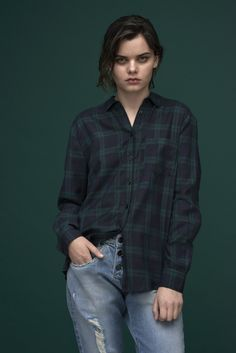 Green and blue checked shirt. Loose fitted boyfriend jeans with ripped detailing in blue denim.  Shirt : Aday / Brandy Jeans: Claudia / M-364463