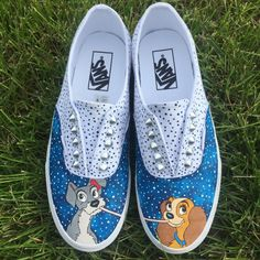 These Vans feature Lady and the Tramp sharing a romantic meal under the stars!. The back feature a reverse polka dot pattern, with hearts on the heels. All shoes are painted with acrylic paints and sealed to be water and stain resistant.  Shoes are made to order, so there may be