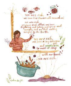 We Are Rich, A Gratitude Poem - Archival Watercolor Art Print - 8 x 10