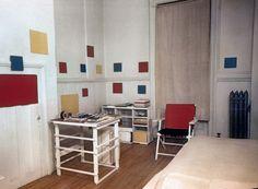 Piet Mondrian's 12 East 59th Street studio, New York, photographed by Fritz Glarner, 1944