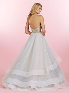 Style HP6453 > Bridal Gowns, Wedding dresses > by Hayley Paige > Shown Moonstone Tulle Ball gown with Alabaster & Crystal Sweetheart bodice. Tiered Tulle skirt with wide Horsehair Trim & Chapel Train (back)