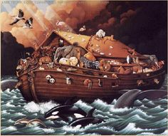 noah's+ark+painting | Noah's ark saved all life on Earth — at least on OUR universe.