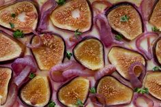 Fig puff pastry tart with goat cheese and carmelized red onion -- so pretty.  Will try soon.