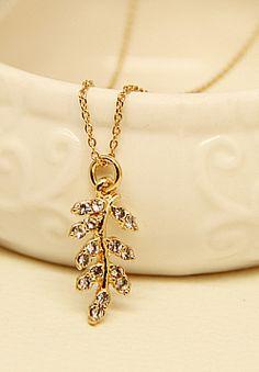 Gold Diamond Leaf Necklace S.R.23.96