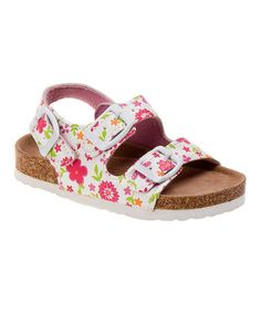 Look at this #zulilyfind! White & Pink Floral Sandal #zulilyfinds