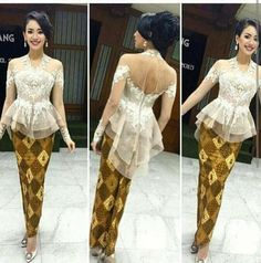 asymetrical peplum Kebaya Peplum, Kebaya Lace, Batik Kebaya, Batik Dress, Lace Dress, Indonesian Kebaya, Kebaya Wedding, Model Kebaya, Batik Fashion