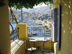 The modest Villa Nicola Symi's stunning balcony views. #Symi Island, #Greece