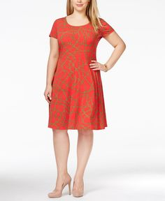 Michael Michael Kors Plus Size Printed A-Line Knit Dress