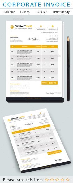 Invoice Template Receipt MS Word Template Instant download - print invoice