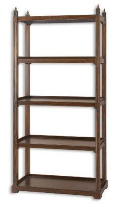"""NoPart: 24126 Uttermost 78"""" Inch Brearly Etagere Stately Framework Of Poplar Solids w/ Sape... by Utter. $591.80. Eligible for FREE Super Saver Shipping!. Stately framework of poplar solids with sapele veneer in rich, dark bourbon finish. NoPart: 24126"""