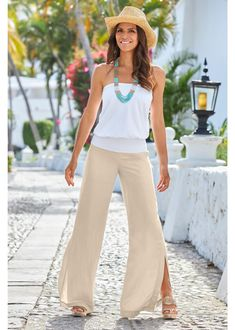 Palazzo Linen Pants ~ Today's Fashion Item | These Linen Pants by Boston Proper are flowy, lightweight, breathable and oh so chic in a palazzo silhouette designed with side-slit legs. Also in tan and white linen pants. | Boston Proper Clothing | Women's Summer Outfits | Cruise Outfit | OOTD | Summer Fashion | Chic Summer Outfit | Resort Outfit | Vacation Outfit | Classy Summer Outfit | Palazzo Pants Classy Summer Outfits, Summer Outfits Women, Cruise Outfits, Vacation Outfits, Bell Bottoms, Classy Wedding Guest Dresses, Bell Bottom Jeans, Chic Summer Style, Animal Print Outfits