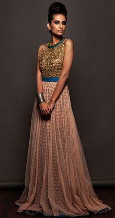 SVA - beige double layered dress