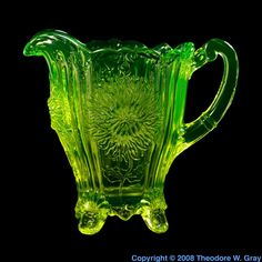 Uranium Glass | Uranium glass water pitcher, a sample of the element Uranium in the ...