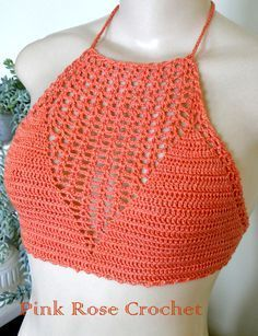PINK ROSE CROCHET /: Top Anne Orange Red