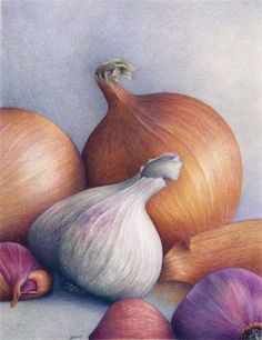 This drawing done in pencil is a very impressive piece of still life. The dark and light colours make the picture very realistic. The dark background fits with the onions and make it seem as if they are hidden in the gloom underground, rather than above on the kitchen table. It is an incredibly nice painting.