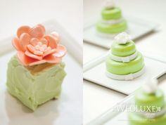 1.Petit Four, a bite-sized tiny cake with mint green buttercream and   adorned with a white chocolate edible flower, Culinary Capers  2.Individual mini two-tier mint chocolate wedding cakes, in light green with white flowers,   Chef Hans Pirhofer, Pan Pacific Hotel