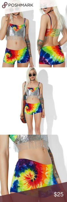 Dolls Kill Tie Dye Shorts Tie Dye Boy Shorts featuring a super stretchy construction, mega vivid allover rainbow tie dye pattern and elastic waist band. Perfect for festivals, raves or some comfy yoga attire!  Material: 95% Rayon, 5% Spandex Size: Small (recommended for x-small to small) Condition: worn once Dolls Kill Shorts