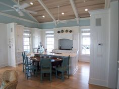 Grayton Beach Residence by Hufham Farris Construction Beach Cottage Kitchens, Home Kitchens, Country Kitchen, House Of Turquoise, Modern Kitchen Design, Kitchen Designs, Kitchen Ideas, Beach House Decor, Home Decor