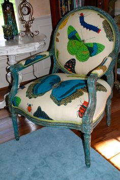 Painted chair and the fabric is amazing.  Love it!