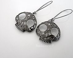 Skull Earrings, Gunmetal black flower skull charm kidney dangle, halloween gift jewelry, sugar skull, by balance9