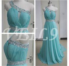 One Shoulder Chiffon bridesmaid Gown Tiffany Blue beaded chiffon wedding party bridal graduation prom dresses long Turquoise beach dress by VEIL9 on Etsy https://www.etsy.com/listing/203086600/one-shoulder-chiffon-bridesmaid-gown