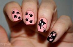 Pattes de chat nail art by Mary Monkett - Nailpolis: Museum of Nail Art Cat Nail Art, Animal Nail Art, Cat Nails, Pink Nails, Black Nails, Nail Polish Designs, Cool Nail Designs, Nails Design, Animal Nail Designs