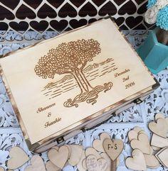 Large Rustic wedding guest book alternative / guest book / memory box / wood burned box / keepsake box/ wedding tree / celtic knot tree