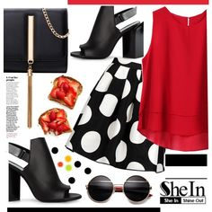 Dots on Red by violet-peach on Polyvore featuring moda, Boutique Moschino and Pierre Hardy