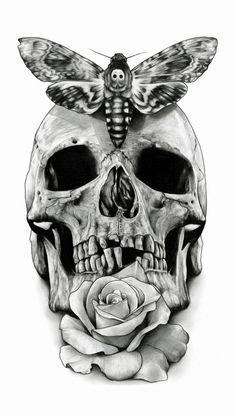 Butterfly, tattoo, skull, black and white, bone png Skull Tattoo Design, Tattoo Design Drawings, Skull Design, Cool Skull Drawings, Skull Artwork, Skull Painting, Skull Rose Tattoos, Body Art Tattoos, Sleeve Tattoos