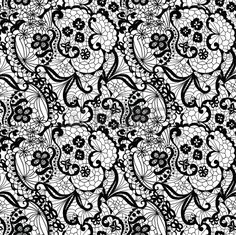 Lace black seamless pattern with flowers on white background Stock Vector