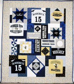 Sewing Block Quilts Probably the best t-shirt quilt I've seen. Quilting Tips, Quilting Projects, Quilting Designs, Sewing Projects, Sewing Designs, Quilt Design, T-shirt Quilts, Baby Quilts, Georgia