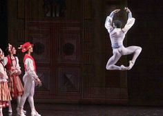 "Osiel Gounod, right, dances as Franz in \""Coppelia.\"""