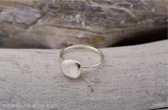 Small Silver River Rock Ring Stacking Ring by ColbyJuneJewelry