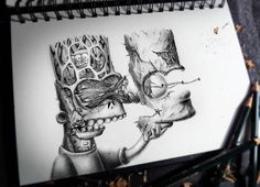Bart Simpson Pencil Drawing by Pez Artwork