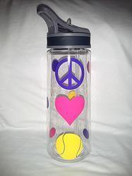Peace Love Tennis Water Bottle