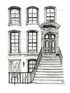"New York House from ""Breakfast at Tiffany's"" Illustration"