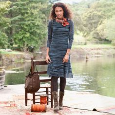 """SHADOW DRESS--Thick and thin yarn intertwine to create airy texture in our knee-grazing sweater dress, gracefully draping over a separate black slip liner. Nylon/wool/acrylic/alpaca. Hand wash. Imported. Exclusive. Sizes XS (2), S (4 to 6), M (8 to 10), L (12 to 14), XL (16). Approx. 38-1/2""""L."""